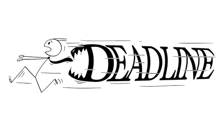 Cartoon stick figure drawing conceptual illustration of businessman running in panic with big deadline text or letters with teeth chasing him to devour him.