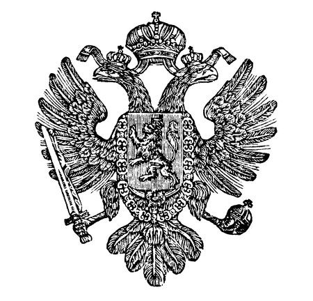 Vintage antique line drawing or engraved illustration of coat of arms of Kingdom of Bohemia as part of Austrian Empire.