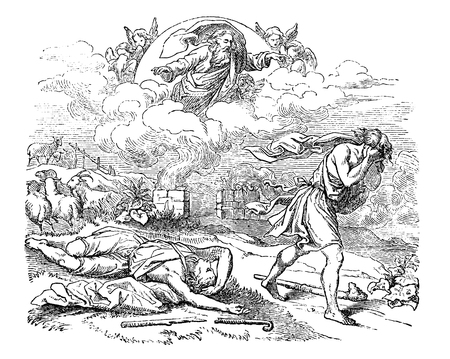 Vintage antique illustration and line drawing or engraving of biblical Cain who murdered his brother Abel. Genesis 4:1-18.