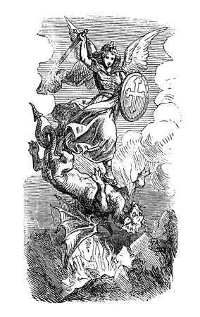 Ilustración antigua vintage y dibujo o grabado del arcángel bíblico Miguel luchando y derrotando a Satanás como dragón. Apocalipsis 12: 7-9.