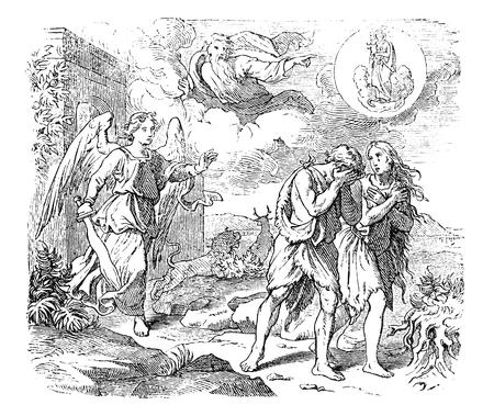 Illustrazione di antiquariato vintage e disegno della linea o incisione di Adamo ed Eva biblici che lasciano il giardino dell'Eden. Cacciata dal paradiso per angelo o cherubini con spada fiammeggiante. Genesi 3:24.