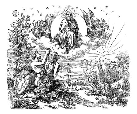 Illustrazione d'antiquariato dell'annata e disegno o incisione di Dio biblico e angeli che volano sopra gli animali e Adamo ed Eva nel giardino dell'Eden dopo la creazione del mondo. Genesi 1-2.