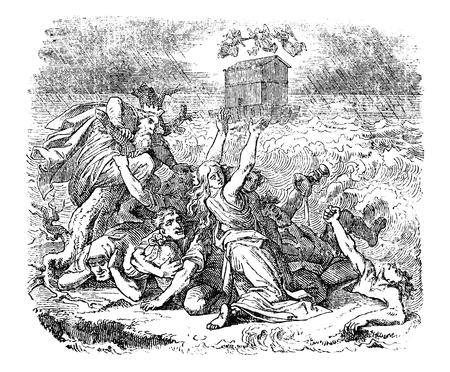 Vintage antike Illustration und Strichzeichnung oder Gravur des biblischen Noah's Arc, der während der Genesis-Flut auf dem Wasser schwimmt, während die Sünder ertrinken. Genesis 6:9-9:17.