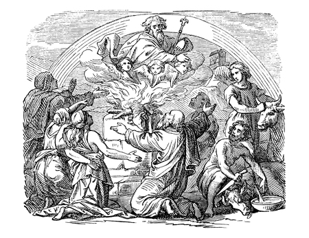 Vintage antique illustration and line drawing or engraving of biblical Noe and his sons sacrificing animals.From Biblische Geschichte des alten und neuen Testaments, Germany 1859. Genesis 8:20