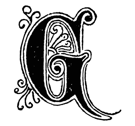 Vintage antique line drawing or engraving of decorative capital letter G with ornament or embellishment around and inside. From Biblische Geschichte des alten und neuen Testaments, Germany 1859.