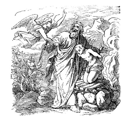 Vintage antique illustration and line drawing or engraving of biblical story about Abraham going to sacrifice his only son Isaac, but s stopped by Angel.From Biblische Geschichte des alten und neuen Testaments, Germany 1859. Genesis 22.