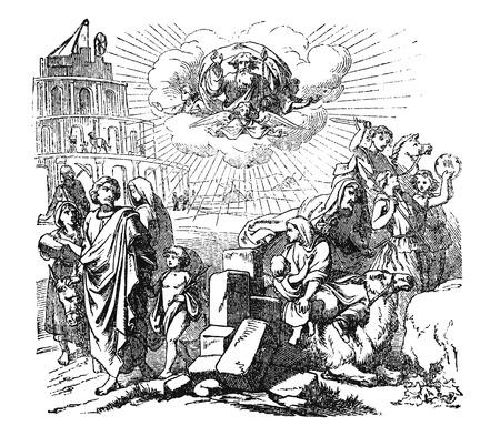 Antique Vintage illustration et dessin ou gravure de l'histoire biblique sur la Tour de Babel.De Biblische Geschichte des Alten und neuen Testaments, Allemagne 1859.Genèse 11:1-9.