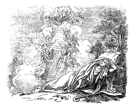 Vintage antique illustration and line drawing or engraving of biblical story about Jacob and Laban.From Biblische Geschichte des alten und neuen Testaments, Germany 1859. Genesis 31.Young man sleeping near passage to heaven.