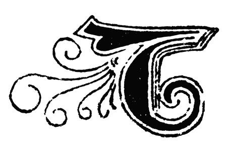 Vintage antike Strichzeichnung oder Gravur des dekorativen Großbuchstabens B mit Ornament oder Verzierung herum. Aus der Biblischen Geschichte des alten und neuen Testaments, Deutschland 1859.