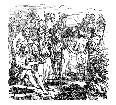 Vintage antique illustration and line drawing or engraving of biblical story about Joseph sold in to slavery by his brothers. From Biblische Geschichte des alten und neuen Testaments, Germany 1859. Genesis 37.