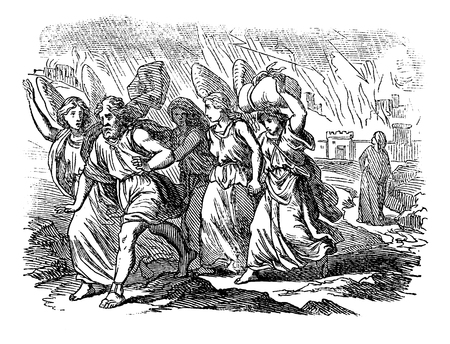 Vintage antique illustration and line drawing or engraving of biblical story about destruction of cities Sodom and Gomorrah. From Biblische Geschichte des alten und neuen Testaments, Germany 1859.Genesis 18-19.