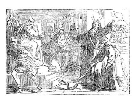 Vintage antike Illustration und Strichzeichnung oder Gravur der biblischen Geschichte von Moses und Aaron, die den Stab in der Schlange wechseln, während sie mit dem Pharao von Ägypten streiten.