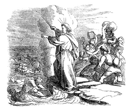 Vintage antique illustration and line drawing or engraving of biblical story of crossing the Red Sea, Moses is leading Israelites through, Egyptian army is drowned.From Biblische Geschichte des alten und neuen Testaments, Germany 1859.Exodus 13.
