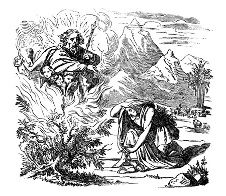 Vintage antique illustration and line drawing or engraving of biblical story of Moses and the burning bush.From Biblische Geschichte des alten und neuen Testaments, Germany 1859.Exodus 3. Man looking on bush in flames, God appears above him.