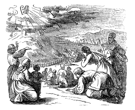 Vintage antique illustration and line drawing or engraving of biblical story of Israelites and stone tablets with ten commandments given by got on mount Sinai.From Biblische Geschichte des alten und neuen Testaments, Germany 1859.Exodus 34.