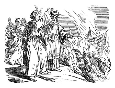 Vintage antique illustration and line drawing or engraving of biblical Israelites and rebellion against Moses and Aaron.From Biblische Geschichte des alten und neuen Testaments, Germany 1859.Numbers 16. Stock Illustratie