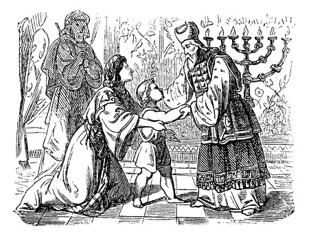 Vintage antique illustration and line drawing or engraving of biblical story about Elkanah and his wife Hannah who are presenting son Samuel to priest Eli.From Biblische Geschichte des alten und neuen Testaments, Germany 1859.Samuel 1.