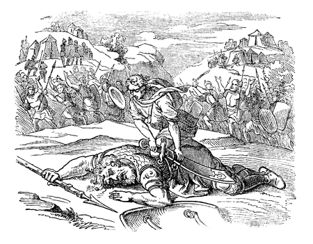 Vintage antique illustration and line drawing or engraving of biblical story about David who beaten Philistine warrior Goliath.From Biblische Geschichte des alten und neuen Testaments, Germany 1859. Samuel 17.