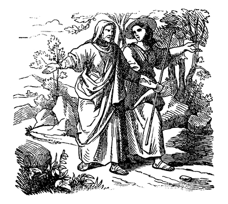 Vintage antique illustration and line drawing or engraving of biblical Ruth and Boaz. Man and woman are walking together. From Biblische Geschichte des alten und neuen Testaments, Germany 1859.Book of Ruth. Illustration