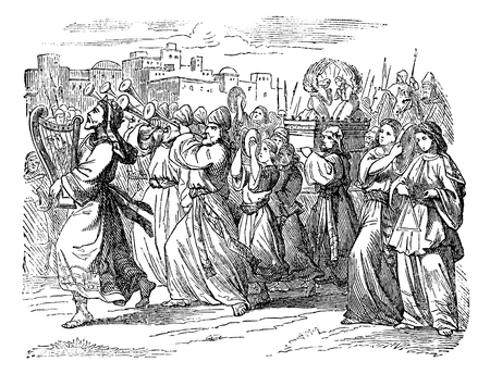Vintage antique illustration and line drawing or engraving of biblical story about king David playing music, dancing and celebrating God with people.From Biblische Geschichte des alten und neuen Testaments, Germany 1859.2 Samuel 6.