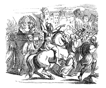 Vintage antique illustration and line drawing or engraving of biblical Israelites attacking city of Jericho. Walls falling when blowing trumpets.From Biblische Geschichte des alten und neuen Testaments, Germany 1859.Joshua 6.
