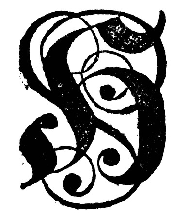 Antique vintage vector drawing or engraving of decorative ornamental capital letter H with ornaments. From Romische Historie, printed in Breslau,Kingdom of Prussia, 1762. Illustration