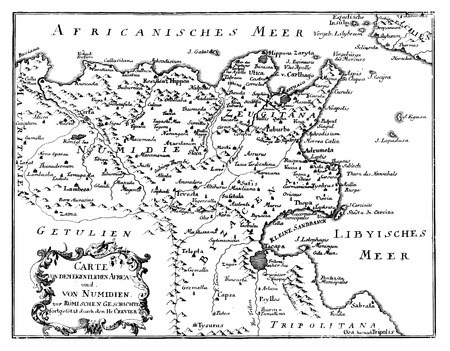 Antique vector drawing or engraving of vintage decorative map or Northern Africa from Roman Empire times. From book Romishe Historie, part 14, printed in Breslau, Kingdom of Prussia, 1762. Vector Illustration