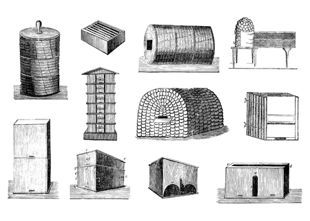Set of Antique vector drawings or engravings of vintage illustrations of various beehives or bee hives and beekeeping tools.From book Illustrierter Neuester Bienenfreund, printed in Leipzig, Germany 1852.