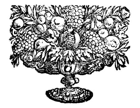 Antique vector drawing or engraving of classic grunge vintage floral decorative design of bowl of fruit.From book Die Betrubte Und noch ihrem Beliebten Geussende Turteltaube, printed in Prague, Austrian Empire, 1716.