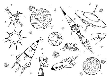 Satz von Cartoon-Vektorzeichnungen von Weltraumrequisiten wie Raketen, außerirdische Raumschiffe oder Raumschiffe, UFO, Planeten und Satelliten.