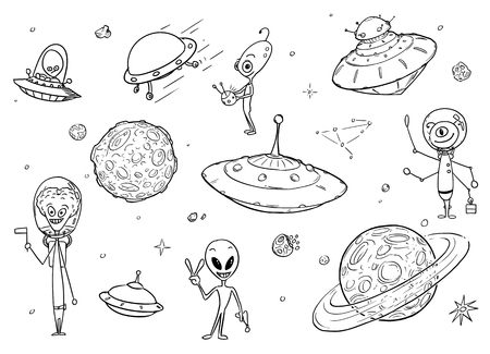 Set of cartoon vector drawings of friendly cartoon alien characters, UFO space ships and planets.