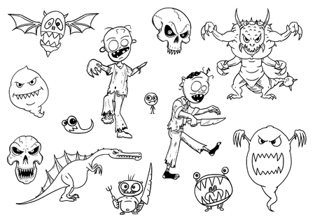 Set of cartoon vector drawings of halloween monsters like ghost, zombie, demon and flying skull. Dangerous but cute creatures. Illustration