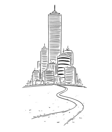 Vector drawing of group of generic modern high rise buildings in far and road leading there. Business concept of career and success.
