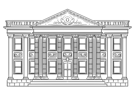 Vector black and white drawing of bank building in classic style with columns as metaphor of stability, money, finance and investment.