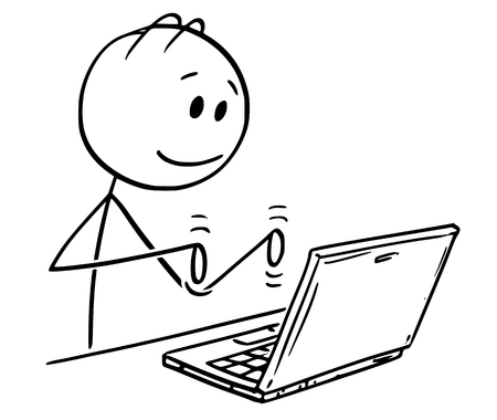 Cartoon stick figure drawing conceptual illustration of smiling man working and typing on laptop computer. Banco de Imagens - 123697676