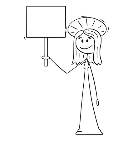 Cartoon stick figure drawing conceptual illustration of holy woman with halo around head holding empty sign.