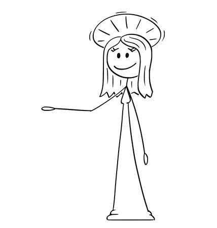 Cartoon stick figure drawing conceptual illustration of holy woman with halo around head is offering, showing or pointing at something. Vectores