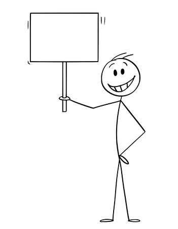 Cartoon stick figure drawing conceptual illustration of happy smiling man holding empty sign ready for your text.