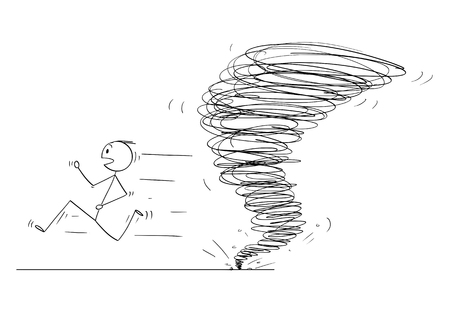 Cartoon stick figure drawing conceptual illustration of man running away from tornado vortex.