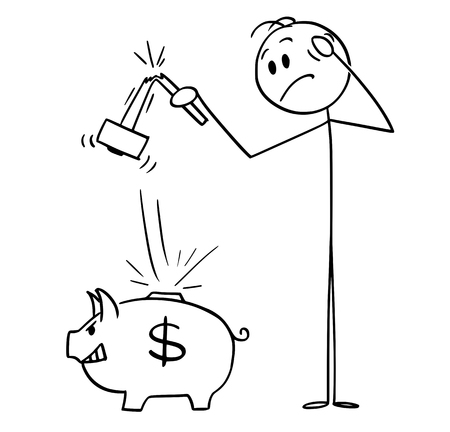 Cartoon stick figure drawing conceptual illustration of man holding broken hammer who tried to break piggy bank and get his money or savings. Business concept of banking .