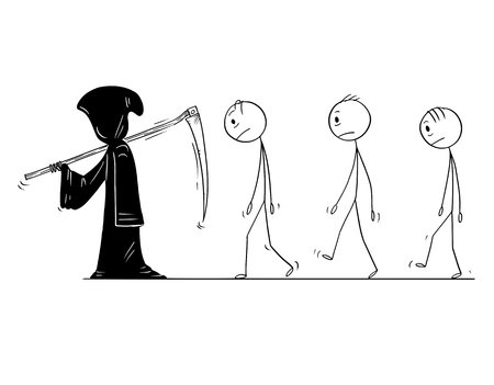 Cartoon stick figure drawing conceptual illustration of grim reaper with scythe and in black hood and group of dead men or people following him. Metaphor of death.