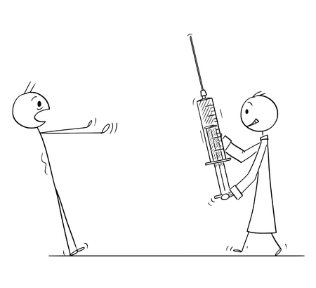Cartoon stick figure drawing conceptual illustration of man stunned in panic looking at doctor coming with big injection or syringe. Concept of healthcare or vaccination.