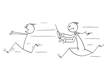 Cartoon stick figure drawing conceptual illustration of man running in panic chased by doctor with injection syringe. Concept of healthcare and vaccination.