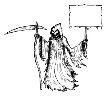 Cartoon-Strichmännchen zeichnen konzeptionelle Darstellung von Sensenmann mit Sense und in schwarzer Kapuze mit leerem Schild für Ihren Text.