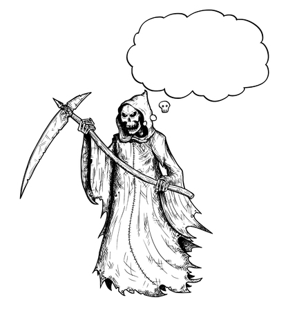 Cartoon stick figure drawing conceptual illustration of grim reaper with scythe and in black hood and with empty text or speech bubble or balloon. Vettoriali