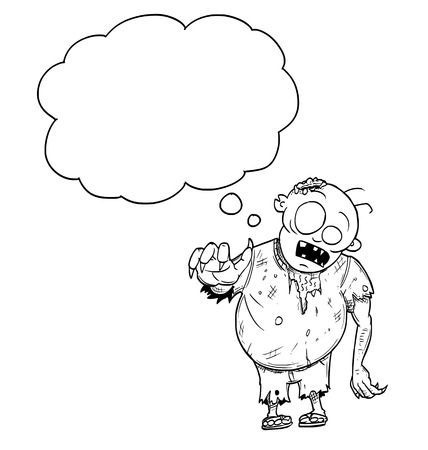Cartoon drawing conceptual illustration of fat crazy Halloween monster zombie with empty speech bubble or text balloon. Illustration
