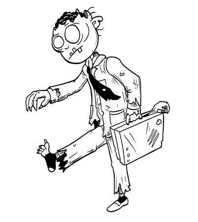 Cartoon drawing conceptual illustration of crazy Halloween monster zombie businessman with suit and briefcase.