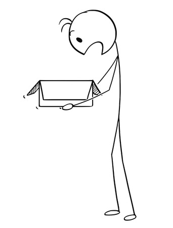 Cartoon stick figure drawing conceptual illustration of surprised man or businessman looking in to open carton box shocked. Vector Illustration