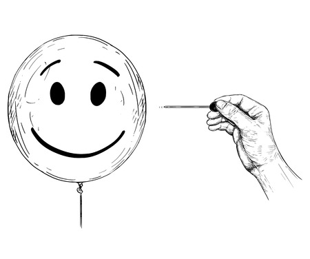 Cartoon drawing conceptual illustration of hand with needle or pin popping balloon with human face representing personality and mental health. Illustration