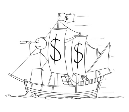 Cartoon stick figure drawing conceptual illustration of man or businessman standing as captain on the deck of sailing boat with dollar currency symbols and looking through spyglass. Business concept of planning and future. Illustration
